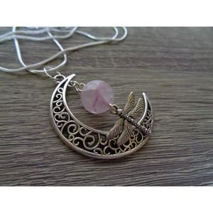 Dragonfly Crescent Moon Necklace Gems